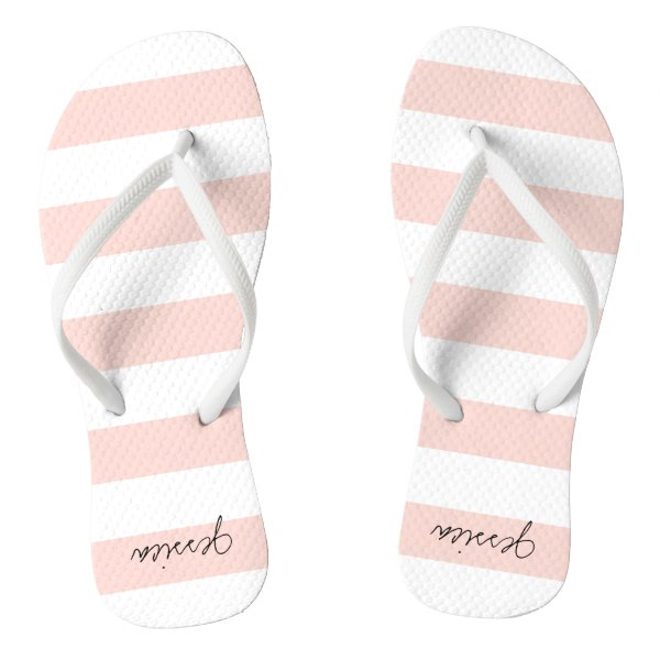 Blush Pink Personalized Stripe Thongs Flip Flops