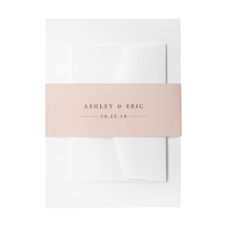 Blush Pink Personalized Wedding Invitation Belly Band