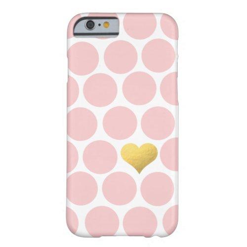 Blush Pink Polka Dots Gold Foil Heart Phone Case