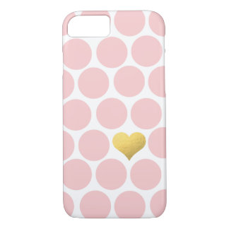 Blush Pink Polka Dots Gold Foil Heart iPhone 7 Case