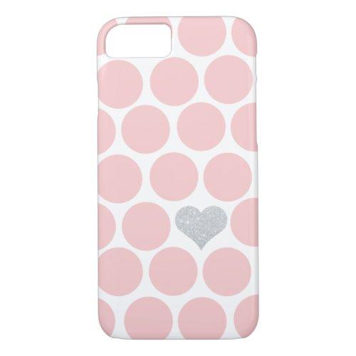 Blush Pink Polka Dots Silver Glitter Heart