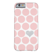 Blush Pink Polka Dots Silver Glitter Heart Barely There iPhone 6 Case