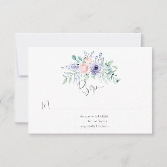 Blush Pink & Purple Watercolor Roses RSVP Card