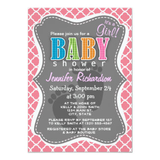 "Blush Pink Quatrefoil 4.5"" X 6.25"" Invitation Card"
