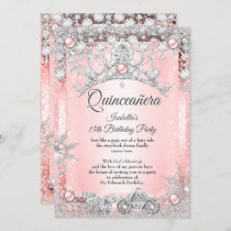 Blush Pink Quinceanera 15th Winter Carriage Invitation