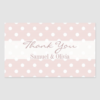 Blush Pink Rectangle Custom Polka Dotted Thank You Rectangular Sticker