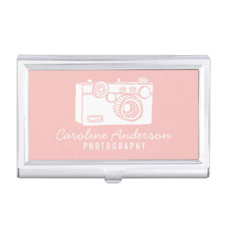 Blush Pink Retro Camera Photographer Business Card Case