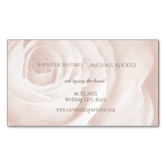 blush pink rose elegant wedding save the date magnetic business card