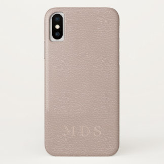 Blush Pink Rose Faux Leather Look iPhone X Case