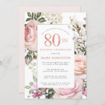 """Blush Pink Rose Floral 80th Birthday Party Invitation<br><div class=""""desc"""">Honor a special woman with this elegant and feminine 80th Birthday party invitation. 80th is written in large rose pink text. Birthday celebration follows. The honored guest's name is also in pink capital letters. The remainder of the text is soft dove grey. The 80th birthday celebration details are surrounded by...</div>"""