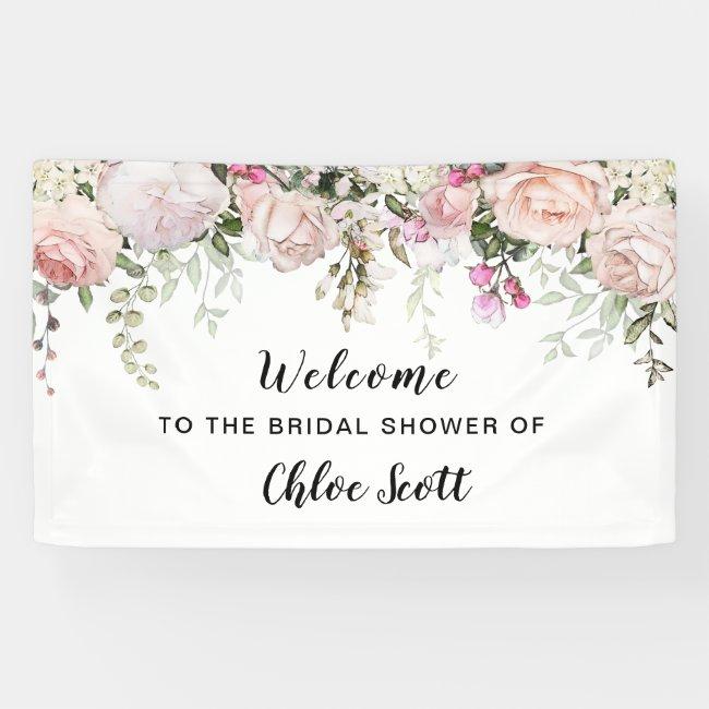 Blush Pink Rose Floral Bridal Shower Welcome Banner