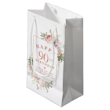 Blush Pink Rose Floral Gold 90th Birthday Small Gift Bag