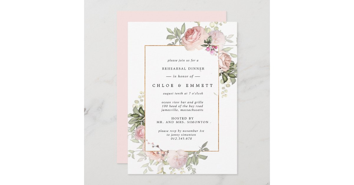 Pink Floral Rehearsal 0024 Pink Roses and Flowers Rehearsal Dinner Invites Printable OR Printed Pink Roses Rehearsal Dinner Invitations