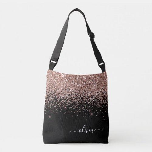 Blush Pink Rose Gold Black Glitter Monogram Name Crossbody Bag