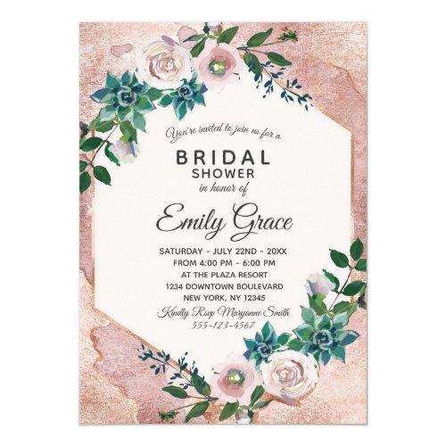 Blush Pink Rose Gold Bridal Shower Invitation
