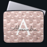 "Blush Pink Rose Gold Elegant Vintage Monogram Computer Sleeve<br><div class=""desc"">Blush Pink Rose Gold Elegant,  Vintage Monogram Case. This case can be customized to include your initial and first name.</div>"
