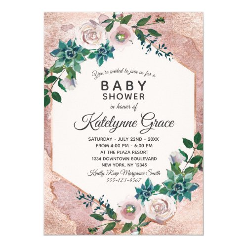 Blush Pink Rose Gold Floral Baby Shower Invitation