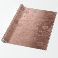 Blush Pink Rose Gold Floral Monochromatic Floral Wrapping Paper