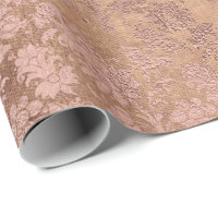 Blush Pink Rose Gold Floral Powder Unique Floral Wrapping Paper