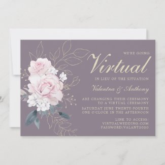 Blush Pink, Purple Rose Gold Virtual Wedding invitations Floral
