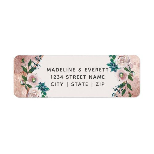 Blush Pink Rose Gold Floral Wedding Return Address Label