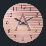 """Blush Pink &amp; Rose Gold Foil Stripe Monogram Name Large Clock<br><div class=""""desc"""">Blush Pink and Rose Gold Foil Stripe Monogram Name and Initial Serving Wall Clock. The Wall Clock makes the perfect gift for someone who loves Blush Pink and Gold Foil Stripes.</div>"""