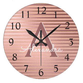 Blush Pink & Rose Gold Foil Stripe Monogram Name Large Clock