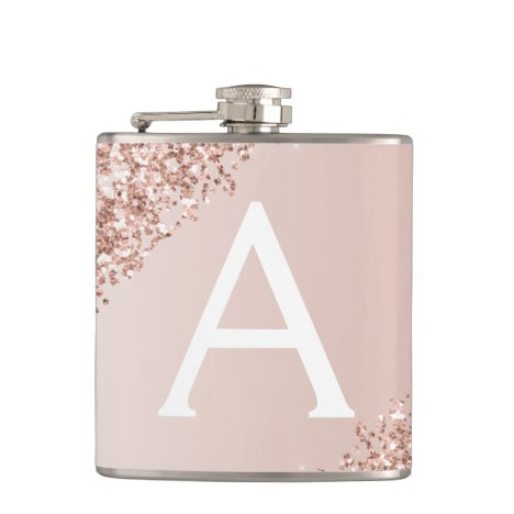 Blush Pink Rose Gold Glitter and Sparkle Monogram Flask