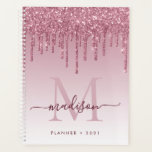 "Blush Pink Rose Gold Glitter Drips Girly Monogram Planner<br><div class=""desc"">Modern Glam Blush Pink Rose Gold Glitter Drips Girly Luxury Monogram Script Name 2021 Planner</div>"