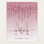 """Blush Pink Rose Gold Glitter Drips Girly Monogram Planner<br><div class=""""desc"""">Modern Glam Blush Pink Rose Gold Glitter Drips Girly Luxury Monogram Script Name 2021 Planner</div>"""