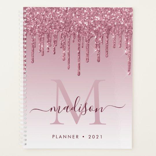 Blush Pink Rose Gold Glitter Drips Girly Monogram Planner
