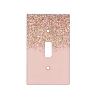 Blush Pink Rose Gold Glitter Glam Y Chic Light Switch Cover