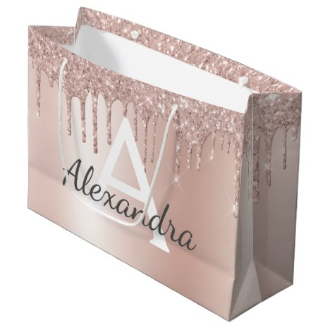 Blush Pink Rose Gold Glitter Monogrammed Chic Large Gift Bag