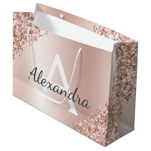 Blush Pink Rose Gold Metallic Glitter Monogrammed Large Gift Bag