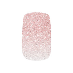 Blush Pink Rose Gold Ombre Glitter Minx Nail Wraps