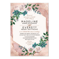 Blush Pink Rose Gold Succulent Wedding Invitations