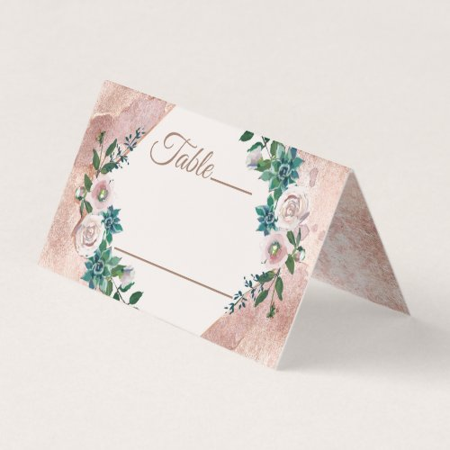 Blush Pink Rose Gold Succulents Table Number Place Card