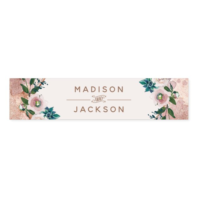 Blush Pink Rose Gold Succulents Wedding Monogram Napkin Bands Zazzle Com