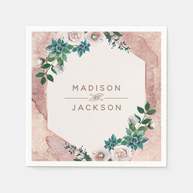 Blush Pink Rose Gold Succulents Wedding Monogram Napkins Zazzle Com
