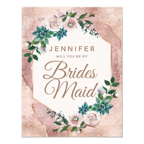 Blush Pink Rose Gold Will You Be My Bridesmaid Invitation