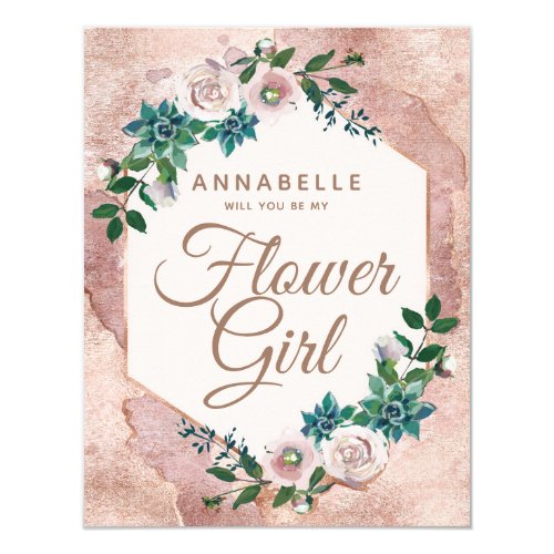 Blush Pink Rose Gold Will You Be My Flower Girl Invitation