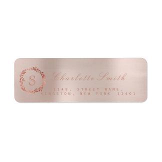 Blush Pink Rose Gold Wreath VIP Monogram RSVP Label