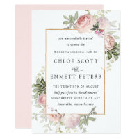Blush Pink Rose Rustic Floral Wedding Invitation