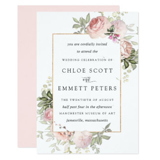 Blush Pink Rose Rustic Floral Wedding Invitation