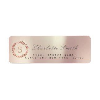 Blush Pink Rose VIP Monogram Return Address Labels