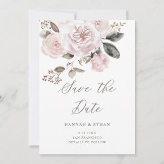 Blush Pink Roses and Peonies | Watercolor Wedding Save The Date