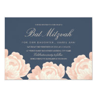 Blush Pink Roses Bat Mitzvah Card