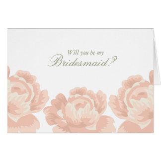 Blush Pink Roses Bridesmaid Cards