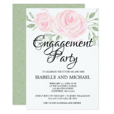 Blush Pink Roses Engagement Party Invitations at Zazzle