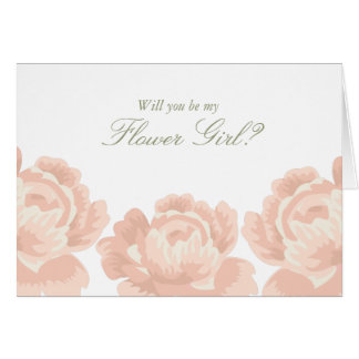 Blush Pink Roses Flower Girl Card